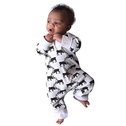 YanHoo Ropa Recién Nacidos Baby Christmas Fawn Elk Print Jumpsuit Jumpsuit + Gorra Conjunto de Traje de Sombrero de Mono recién Nacido de Navidad para bebés, niñas y niños