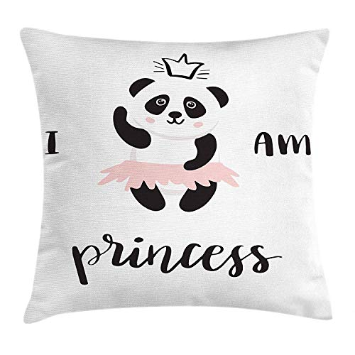 I am a Princess Throw Pillow Cushion Cover, Funny Ballerina Panda Bear Dancing in Pink Skirt Baby Kids Girls, Decorative Square Accent Pillow Case, 18 X 18 Inches, Black and White Rose