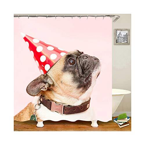 Bishilin Polyester-Stoff Duschvorhang Waschbar Bulldogge mit Hut 3D Anti Schimmel Duschvorhang 165x200