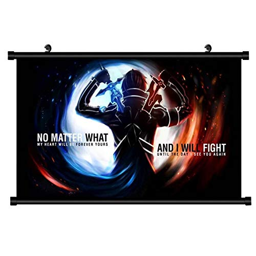 Templom SIX Anime Sword Art Online Yuuki Asuna and Kirito Poster Wall Scroll Hanging Paintings Kunst Malerei Wall Scroll Poster(H04) -