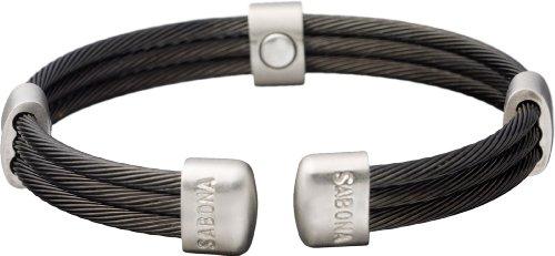 Magnetschmuck, SABONA OF LONDON Bicolor Magnetarmreif aus 3 schwarzen gedrehten Edelstahlschnüren, satinierte Schmuckverbindungen, 5 SmCo-Magnete à 1200 Gauß, S/M: Handgelenksumfang von 16,5-17,5 cm