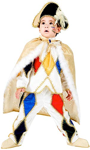 Costume di carnevale da arlecchino in velluto vestito per bambino ragazzo 1-6 anni travestimento veneziano halloween cosplay festa party 8941 taglia 4
