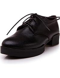 NJX/ hug Zapatos de mujer - Tacón Plano - Punta Redonda - Oxfords - Casual - Semicuero - Negro / Azul / Blanco , white-us5.5 / eu36 / uk3.5 / cn35 , white-us5.5 / eu36 / uk3.5 / cn35