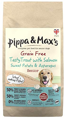 Pippa & Max\'s Senior Forelle mit Lachs, Süßkartoffel & Spargel – feines Getreidefreies Trockenfutter für Hunde, 10 kg
