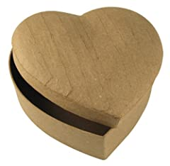 Idea Regalo - Rayher 7132100 scatola in cartapesta a forma di cuore 15,5 x 15,5 x 6,5 cm 100% material naturale riciclato colore neutro da colorare decorare fai da te regali