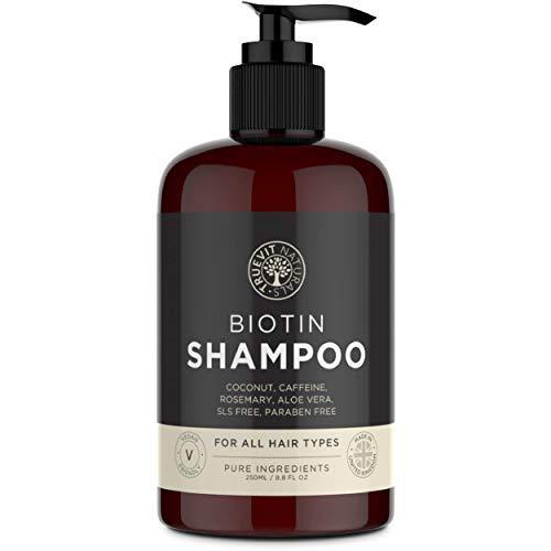 Biotin Shampoo mit Koffein, Kokosöl, Aloe Vera und Rosmarinöl Extrakt - für stärkeren Haarwuchs - 250 ml - Vegan - ohne Parabene - ohne Silikone