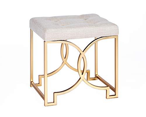 ts-ideen Polsterhocker Beige Gold Hocker mit Metallgestell Schemel mit Gepolsterter Sitzfläche Stuhl 48 x 45 x 35 cm