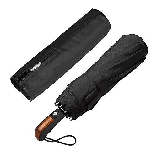 Paraguas Plegable Hombre Automático Antiviento, ECHOICE Paraguas Negro Compacto Resistente al Viento, Paraguas de Viaje (Negro)
