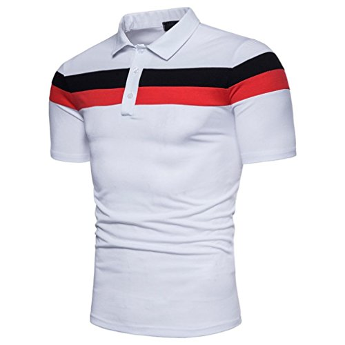 Polo Sport T-Shirt Uni Homme M à 2XL,Covermason Homme Polo Shirts Manche Courte Casual T-Shirt Mode Mince Fit Fawn Imprimer Chemise Tee Tops (Blanc, M)