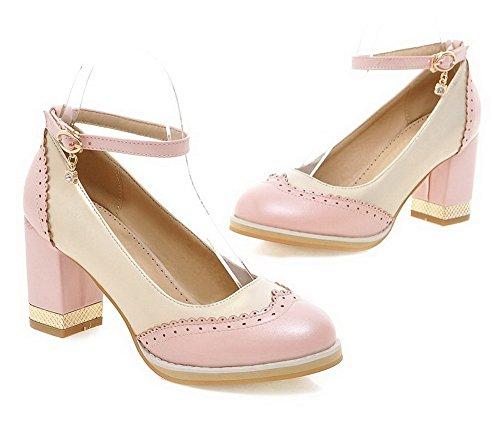 AgooLar Damen Schnalle Pu Leder Rund Zehe Hoher Absatz Gemischte Farbe Pumps Schuhe Pink