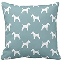 fengxutongxue SJFY Wire Fox Terrier Silhouettes Pattern Throw Pillowcase 18x18