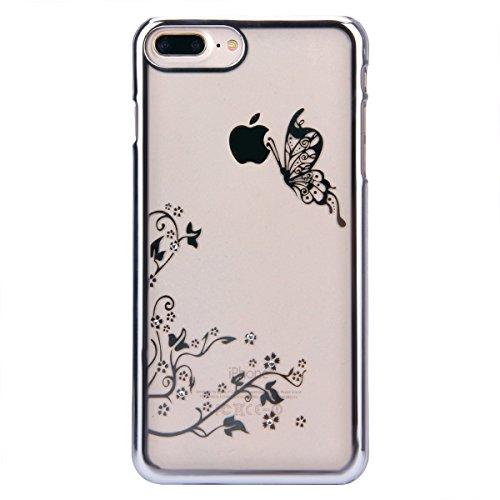 iPhone 7 Custodia, iPhone 7 Cover, iPhone 7 4.7 Custodia Trasparente, JAWSEU Sparkles Cristallo Chiaro Super Sottile Case Custodia Cover per iPhone 7 con Placcatura telaio con il modello del dente di  Farfalla Argento