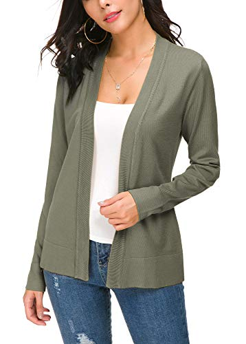EXCHIC Damen Langarm Dünne Casual Strickmantel Leicht Strickjacke (M, Washed Oliver) -