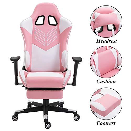 Baishitang Gaming-Stuhl mit Fußstütze, PU-Leder, ergonomischer Renn-Computerstuhl, große Größe, hohe Rückenlehne, Bürostuhl mit Kopfstütze und Lendenwirbelstütze, Rosa