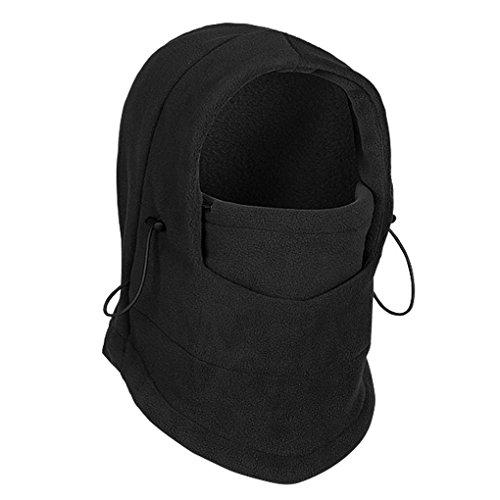 Unimango, passamontagna termico invernale 6in 1, in pile, antivento, per l'intero viso, per motociclismo e sci. Funge da maschera, cappuccio, cappello e berretto, Black