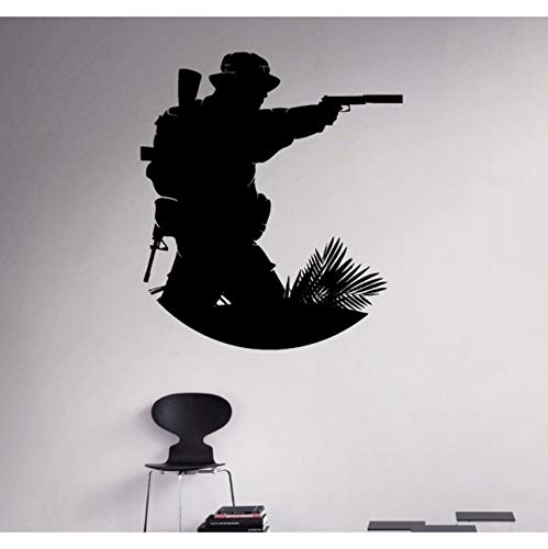 Marine Corps Applique (Militär Soldat Vinyl Applique Marine Corps Wandaufkleber Armee Home Wall Interior Schlafzimmer Dekor Wandkarte 66x58cm)