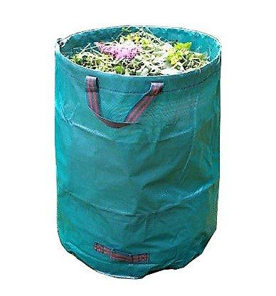 Gartenabfallsack - Gartensack 272 Liter 65 Kg aus robustem hochreis festes wasserdichtes Kunststoffgewebe Doppelnaht für Laub, Astschnitt, Gras - Selbst stehend und Faltbarer Laubsack