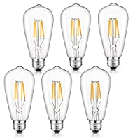Medusa Vintage Edison LED Bulb 4W ST64 Antique LED Bulb Squirrel Cage Filament Light For Decorate Home, E27 3000K, Warm White, 6 Pack