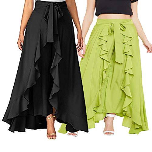 Vogue Tantra Crepe Solid Women's Layered/Ruffle Palazzo & Pant with One Waist Tie Band Black