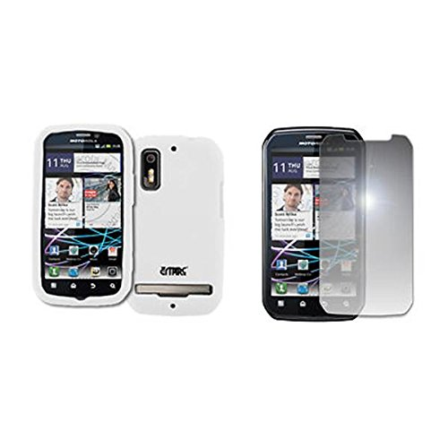 EMPIRE Weiß Silicone Skin Case Tasche Hülle Cover + Mirror Displayschutzfolie Film for Sprint Motorola Photon 4G (Sprint Photon Motorola)
