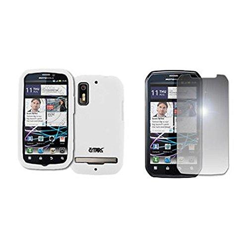 EMPIRE Weiß Silicone Skin Case Tasche Hülle Cover + Mirror Displayschutzfolie Film for Sprint Motorola Photon 4G (Motorola Photon Sprint)