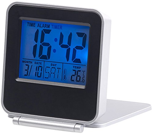 PEARL Digitaluhr: Kompakter Digital-Reisewecker mit Thermometer, Kalender und Timer (Batterie Wecker) - Batterie-digital-thermometer