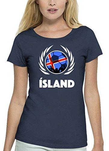 ShirtStreet Iceland Fussball WM Premium Fanfest Damen T-Shirt Bio Baumwolle Stanley Stella Fußball Island Navy