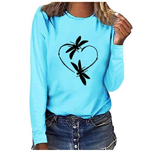 CUTUDE Tshirt Damenmode Langarmshirt Sweatshirt Übergröße Tunika Pullover Print mit Streifen Rundhals Hemd Jumper Bluse Tops (Blau, Large)
