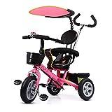 Ydq Dreirad 4in 1 Kinderdreirad Kinder Fahrrad Baby Kleinkinder Mit Lenkbarer Schubstange, Mit FlüSterleise Gummireifen Und Sonnendach FüR Jungen Und MäDchen Ab 12 Monate -6 Jahre,Pink