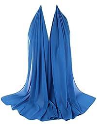 61a040c27edd1 Zolimx Damen Muslimische Schalhaube Plain Bubble Chiffon Schal Hijab Wrap  Gepresste Falten Haar Schal Perle Schals