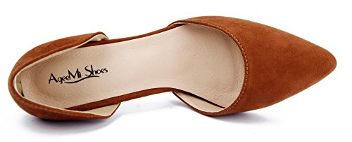 AgeeMi Shoes Damen Spitz Zehe Stiletto Wildleder Schuhe Party Schuhe Damen Khaki