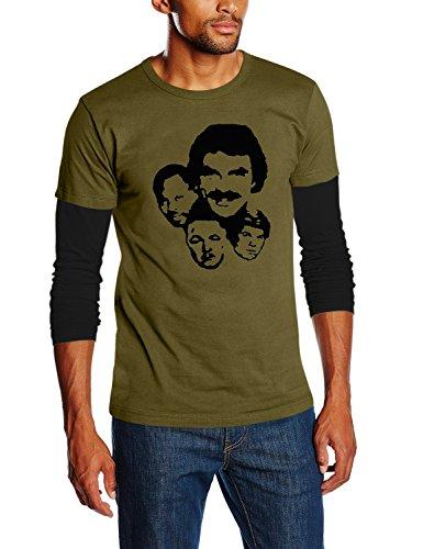 Touchlines - T-Shirt Magnum P.I., T-shirt, unisex, verde (olive/black), L