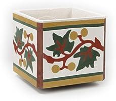 Flowerpot of real Encaustic Cement Tile Handmade. Indoors. Outdoors. Decoration.Vintage(23x22x20 cm)