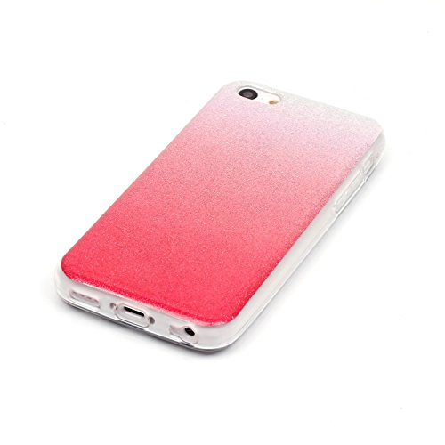 Cover iPhone 5C, Custodia iPhone 5C, ikasus® Colore gradiente Cristallo di lusso di Bling di scintillio lucido diamante scintilla iPhone 5C Case Custodia Cover Lucido scintillio caso di Bling diamante Rosso