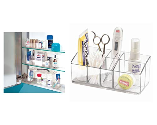 iDesign Medikamentenbox für Bad und Medizinschrank, kleine Medizinbox aus Kunststoff, übersichtliche Medikamenten Aufbewahrung mit 7 Fächern, durchsichtig (Acryl Schrank Organizer)