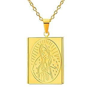 FaithHeart Medaillon/Rechteck Foto Bilder Silber/Gelb/Roségold Kette mit Anhänger Precious Photo Bilder Amulett Saint Benedict/Maria Amulett als Weichnachten