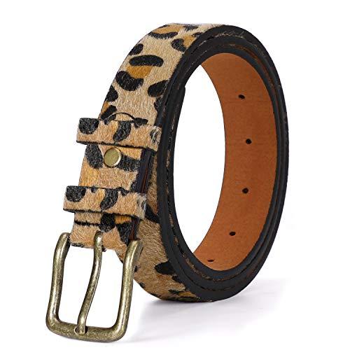 JasGood Damen Leopard Print Ledergürtel für Hose Jeans Leoparden Gürtel mit Legierung Schnalle Plus Size Kleid