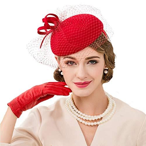 (TOBEEY  Frau Fascinator, Pillbox-Hut mit Schleier Wolle Damen Damen Hochzeit Derby Hut)