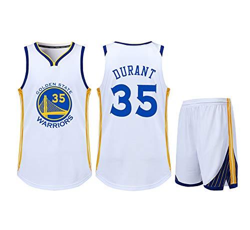 Geeignet für NO.35 Kevin Durant Brooklyn Netze Fans Jungen Mädchen Ärmelloses Basketball-Set T-Shirt Retro Sommer Tops Erwachsene Studenten Kinder Jugendliche-White-XL -
