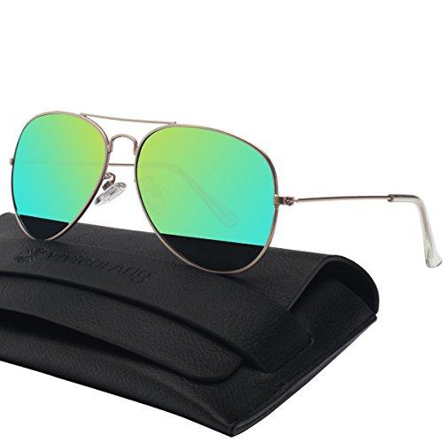 Unisex Silber Spiegel Aviator Flieger Sonnenbrille Reflektierenden Revo-Spiegel Objektiv 85832E(Gold,Green)