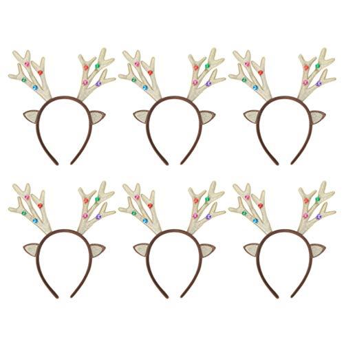Amosfun 6pcs Weihnachten Rentiergeweih mit Rentierohren und Jingle Bells Stirnband Rentier Kostüm Cosplay Zubehör