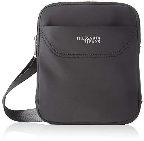 Trussardi Jeans Business City Cross Body Flat, Borsa Messenger Uomo, Nero (Black), 1.5x22.5x19 cm (W x H x L)