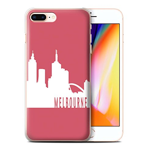 Stuff4 Hülle / Case für Apple iPhone 8 Plus / New York/Blau Muster / Stadt Skyline Kollektion Melbourne/Rot