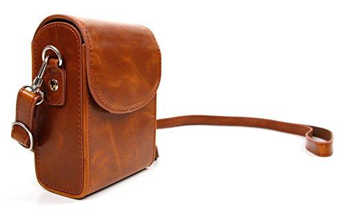 DURAGADGET Schicke, braune Transport-Tasche (mit Schulter-Riemen und Gürtel-Lasche) für die Easypix Aquapix W1400 Active Unterwasserkamera