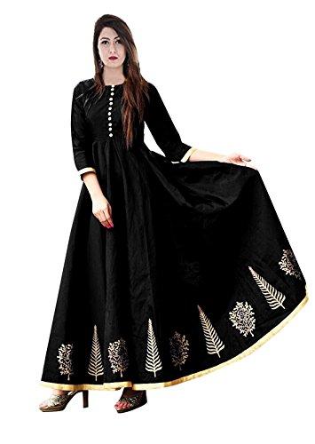 Vaankosh Fashion Women's Cotton Silk Anarkali Kurti (black)