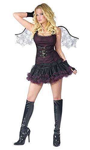 Fancy Me Damen Sexy Gotik schwarz Fledermaus + Wings Halloween Kostüm Kleid Outfit M/L UK 14-16 - Schwarz, UK 14-16