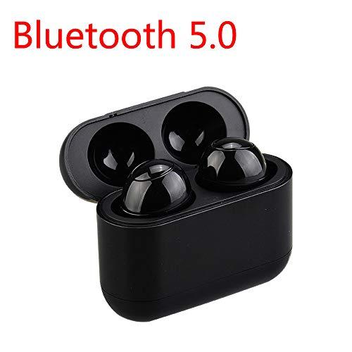 Yimiky Bluetooth-Kopfhörer für iPhone, Bluetooth-Funkkopfhörer mit Mikrofon und Ladetasche in Ohr-Headsets Stereo-Geräuschunterdrückung Mini-Funkkopfhörer für Männer - Schwarz