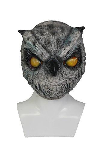 Mesky Cosplay Maske Halloween Mask Eule Masken aus Hotline Miami Vollkopfmaske Owl Latexmaske Grau Game Zubehör für Party, Karneval und ()