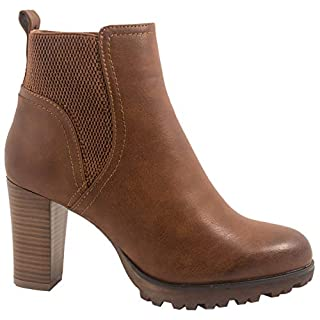 Elara Ankle Boots   Trendige Damen Stiefeletten   Blockabsatz Plateau   Chunkyrayan BZ66019-KB Camel-37