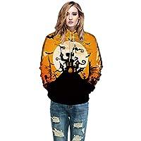 JYC-Sudaderas Mujer,Hombres Mujer Modo 3D Impresión Largo Manga Halloween Parejas Sudaderas Parte Superior Camisas